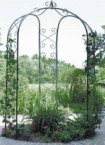 NEW-Metal-3-Sided-Garden-Patio-Yard-Arbor-Gazebo-Arch-Trellis-Hunter-Green