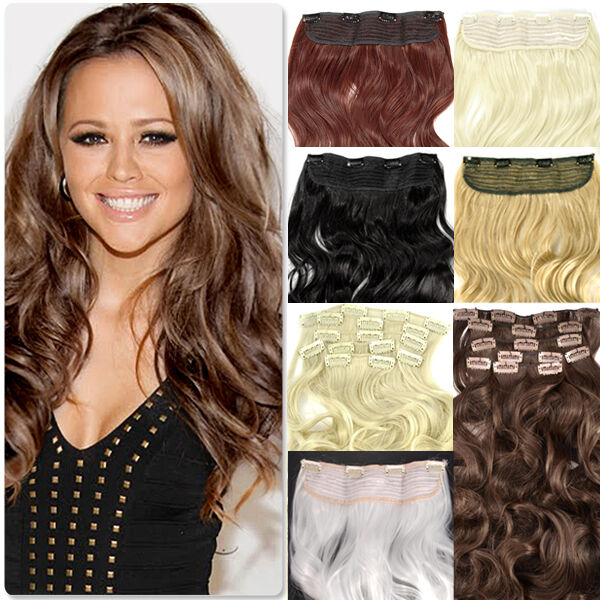 """Full Head Curly Clip-in Hair Extensions Synthetic Extension Hairpiece 20"""" 24"""""""