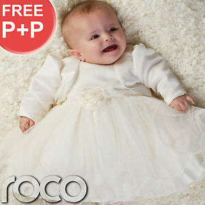 Baby-Girls-Cream-Ivory-Dress-Bolero-Jacket-Wedding-Babys-Bridesmaid-Dresses
