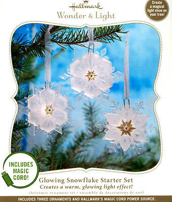 Hallmark 2010 Glowing Snowflake Starter Set  free Magic Cord Wonder and Light
