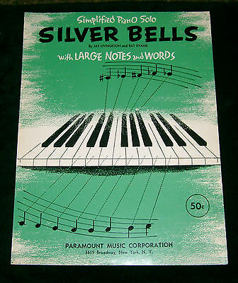 1952 Simplified Piano Solo SILVER BELLS w/large notes & words