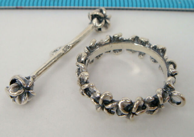 1x STERLING SILVER OXIDIZED FLOWER TOGGLE CLASP 18.4mm #1624