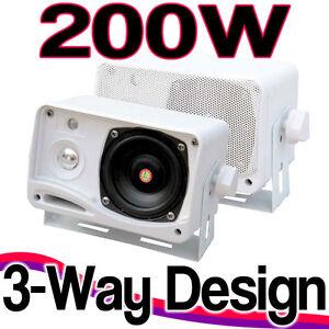 NEW-Pair-Of-200w-Pyle-Marine-Waterproof-Box-Speakers-System-Boat-Patio-Outdoor
