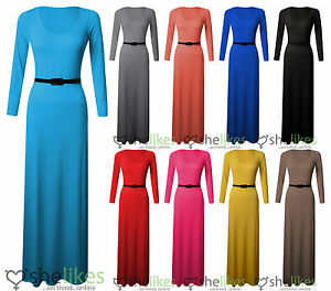 NEW-WOMENS-LADIES-LONG-SLEEVE-JERSEY-BELTED-LONG-MAXI-DRESS-TOP-SKIRT