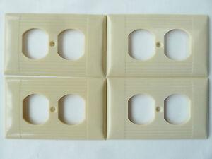 4 Vintage Sierra Ivory Bakelite Ribbed Outlet Receptacle Plate Cover Uniline Lot