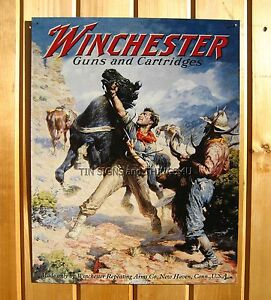 Winchester Spooked Horse Big Game Hunting Tin Sign Vtg