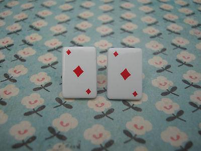 FUNKY RED ACE DIAMOND CARD EARRINGS CASINO POKER KITSCH CUTE RETRO EMO NOVELTY