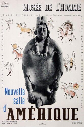 FALCK AFFICHE ANCIENNE MUSEE DE L'HOMME SALLE AMERIQUE PALAIS de CHAILLOT 1939