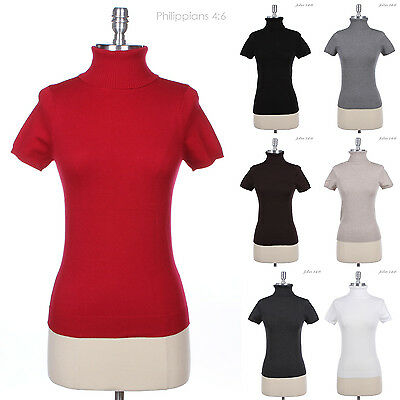 Solid Plain Short Sleeve Knit Turtleneck Top Polo Neck VARIOUS COLOR and SIZE