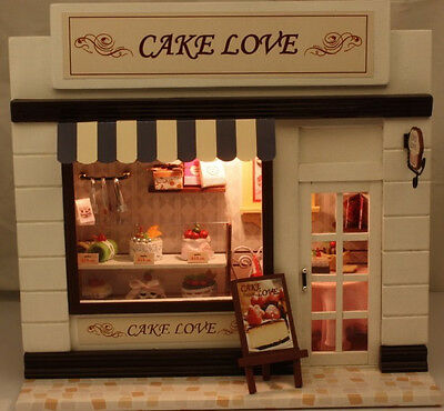 DIY Wooden Dollhouse Miniatures DIY Cake Love Shop kits NICE GIFT Cute Handwork