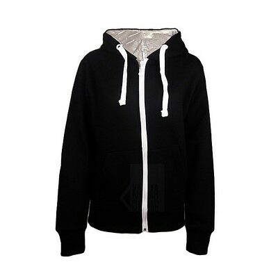 NEW WOMENS PLAIN ZIP PULL STRING HOODIE TOP SIZE 8 10 12 14