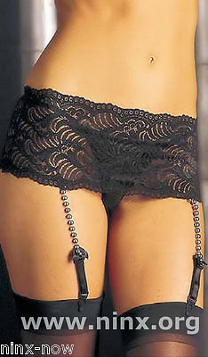 PLUS SIZE Lingerie Lace SUSPENDER belt with bead detail Black Sizes XL to XXXL