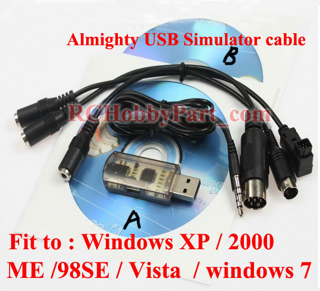 AIO 12in1 Flight Simulator Cable/USB Dongle For RC Helicopter Aeroplane VRC Car