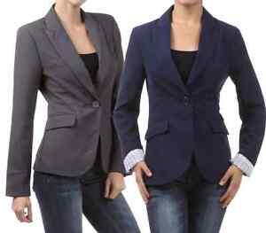 New-One-Button-Jacket-Blazer-Black-Navy-Gray-Small-Medium-Large-Trendy-Striped