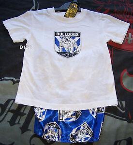 Canterbury-Bulldogs-NRL-Boys-White-Blue-Cotton-Satin-Pyjama-Set-Size-6-New