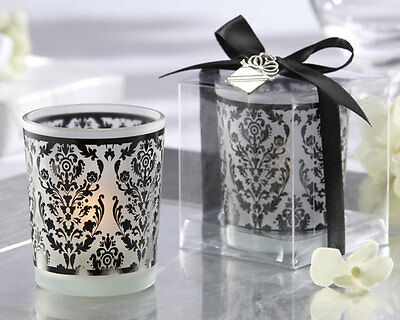 96 Damask Traditions Frosted Glass Tea Light Holder