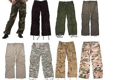 Womens Vintage Paratrooper Fatigue Cargo Pants - Camo Camoflauge