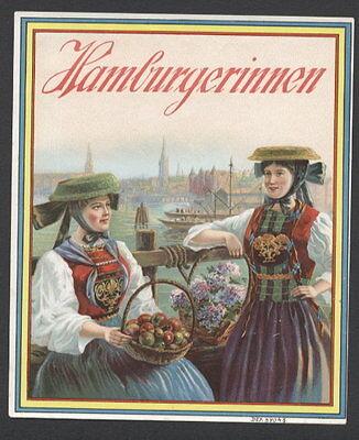 LA1378 OUTER LABEL, HAMBURGERINNEN, 2 GERMAN GIRLS IN NATIVE COSTUMES