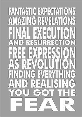 Ian Brown - Stone Roses - Fear - Lyrics  - Poster Print A3