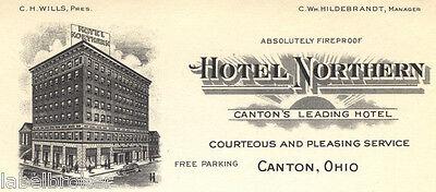 "HOTEL LETTERHEAD NORTHERN CANTON OHIO VINTAGE 1920S 6X9.5"" PAPER EPHEMERA"