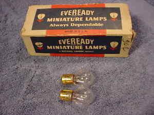 LAMP-Pair-2-Eveready-1129-Signal-Interior-NOS-6-Volt-Bayonet-Base-Vintage-USA