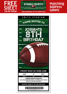 6-FOOTBALL-Birthday-Party-Personalized-Ticket-Style-INVITATIONS