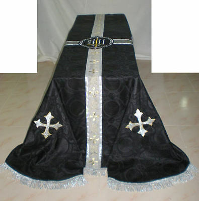 Black Traditional Catholic Funeral Pall Size: 8' x 12' Fully Satin Lined