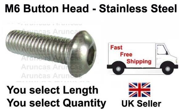 M6 / 6mm Stainless Button Head - M6 / m6 button bolts - Any Length/Qty