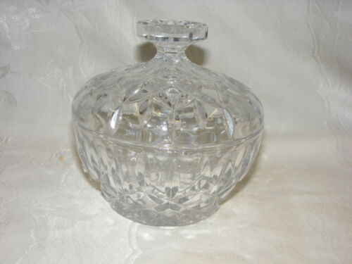 Vintage Large Crystal Covered Candy Bowl X Diamond Pattern Heavy 3+ pounds