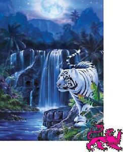 Jigsaw-puzzle-Animal-Wild-Moonlit-Tiger-500-pc-sprinkled-with-glitter-NIB