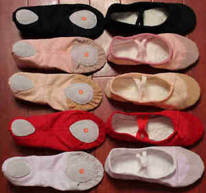 BALLET-SHOES-CANVAS-GIRLS-SIZES-SPLIT-SOLE-PINK-BLACK-PEACH-WHITE-RED-FREE-P-P