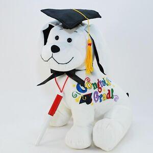 11-034-White-034-Congrats-Grad-034-Graduation-Dog-with-Cap-Tassle-amp-Pen-Stuffed-Animal