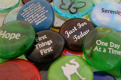 Colored Glass Imprinted Recovery Sobriety Stones