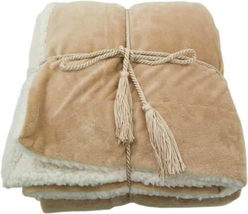 "Synthetic Lambswool Microsherpa Throw Blanket (Super Soft and Cozy) 50"" x 60"""