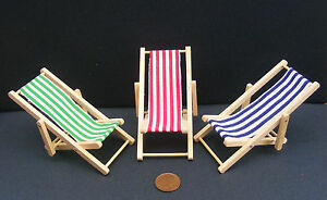 1-12-Scale-Dolls-House-Miniature-Foldable-Wooden-Deckchair-Garden-Accessory