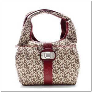 DKNY-HOBO-Handbag-T-C-Silver-Turnlock-Chino-Red-Leather-Khaki-Beige-Fabrics-NWT