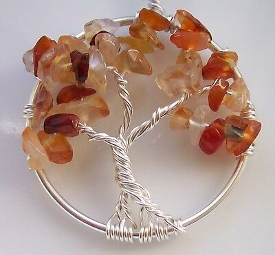 Handmade Tree of Life Pendant Autumn Leaves Wire Wrapped Silver Gemstone Gift