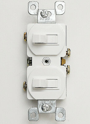Double Toggle Wall Light Switch 15 Amp 120 Volt Duplex 15A Single Pole White