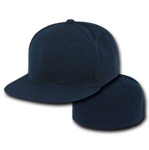 Navy Blue Fitted Flat Bill Plain Solid Blank Baseball Cap ...