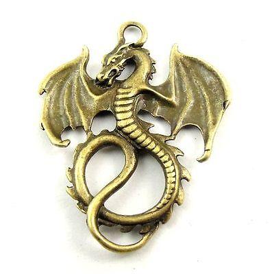 15pcs Antique Style Bronze Tone Alloy Dragon Bless Pendant Charms 30*27*2mm