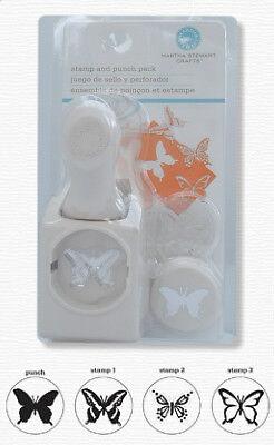 Martha Stewart hand lever 3 Stamp and Butterfly Punch set craft cardmaking etc