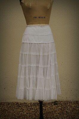 Emanuel Ungaro Size L-XL Six Tier Hedonist Resort White Skirt