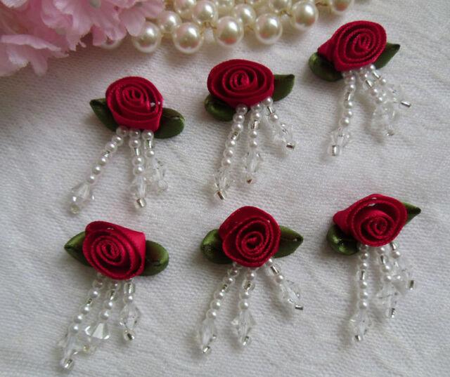 "7/8"" Red Bead Fringe Swirl Satin Ribbon Roses- Lots of 12 pcs-RB024R"