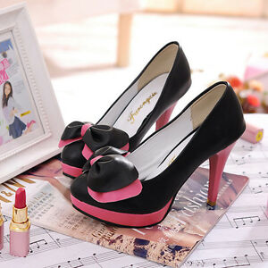 New-Black-Sexy-Women-039-s-PU-Leather-High-Heels-Pumps-Shoes-UK-Size-2-6-Ds021