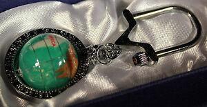 Multi-Gemstone-Globe-Keychain-Green-Pearl-amp-Chrome-Gift-Box-amp-Free-Shipping