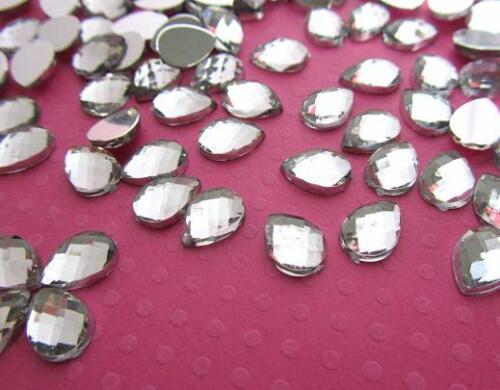100 Multi-facet Cut Crystal Clear 10mm Acrylic Rhinestone//princess E52-Tear Drop