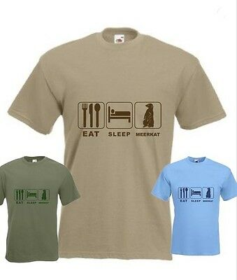 Eat Sleep Meerkat Funny T-shirt in all Sizes and choice of colours