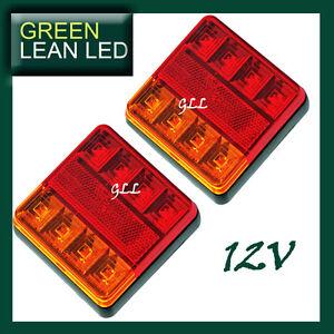 Trailer-Square-Tail-Lights-LED-Lamp-Caravan-Pair-12V-SUBMERSIBLE-REFLECTORS