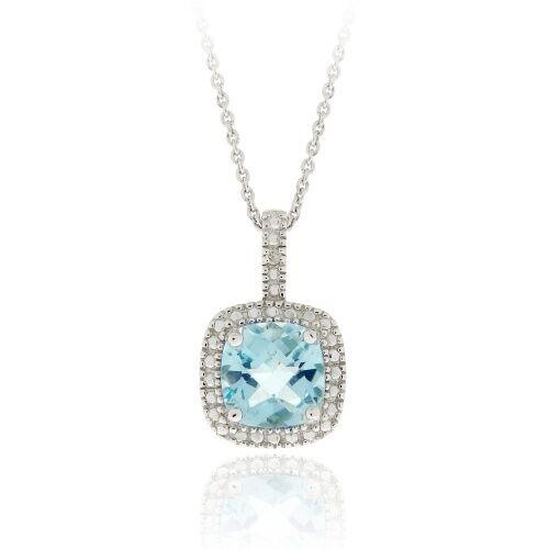 925 Silver 3.36ct Blue Topaz & Diamond Square Necklace