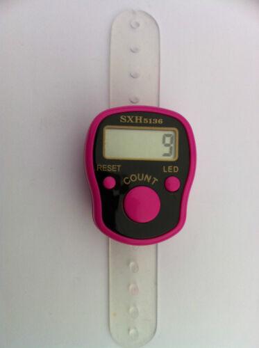 LED LIGHT DIGITAL FINGER RING TALLY COUNTER Knitting Row counter CLICKER TASBEEH